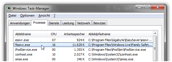 Windows Task-Manager mit fsssvc