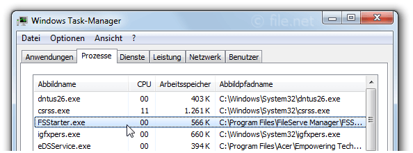 Windows Task-Manager mit FSStarter