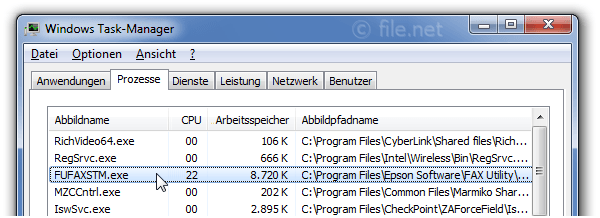 Windows Task-Manager mit FUFAXSTM
