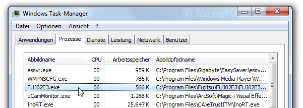 Windows Task-Manager mit FUJ02E3