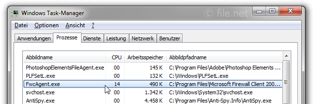 Windows Task-Manager mit FwcAgent