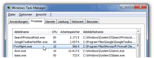Windows Task-Manager mit FwcMgmt