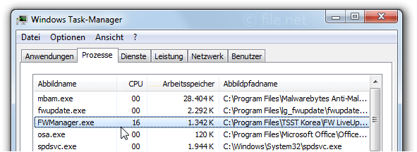 Windows Task-Manager mit FWManager