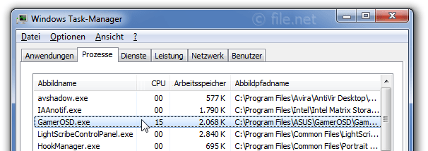Windows Task-Manager mit GamerOSD