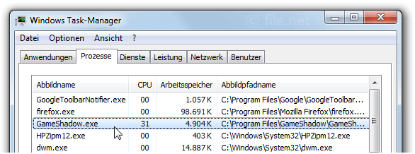 Windows Task-Manager mit GameShadow