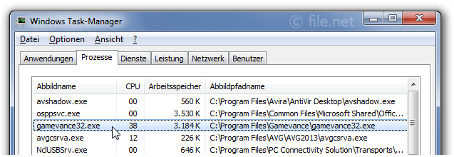 Windows Task-Manager mit gamevance32