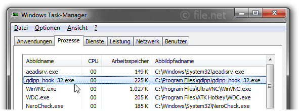 Windows Task-Manager mit gdipp_hook_32