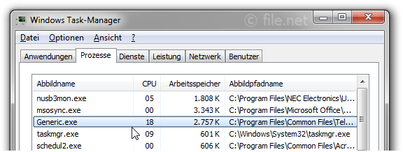 Windows Task-Manager mit Generic