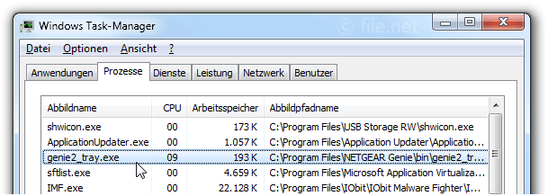 Windows Task-Manager mit genie2_tray