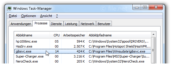 Windows Task-Manager mit gibsvc