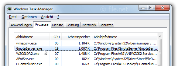 Windows Task-Manager mit GmoteServer