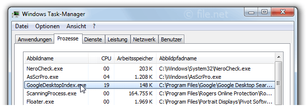 Windows Task-Manager mit GoogleDesktopIndex