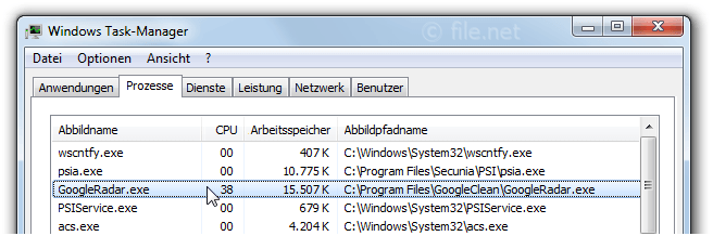 Windows Task-Manager mit GoogleRadar