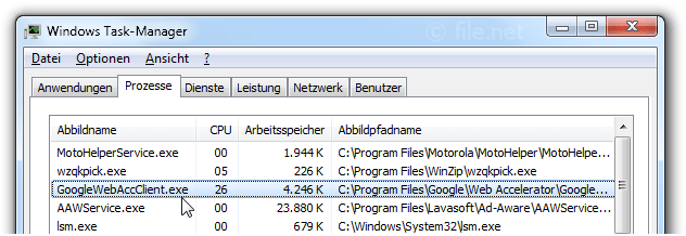 Windows Task-Manager mit GoogleWebAccClient