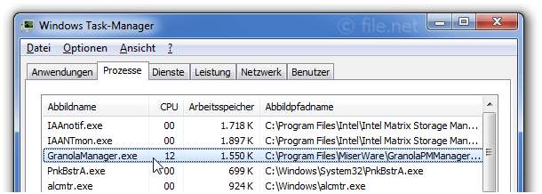 Windows Task-Manager mit GranolaManager