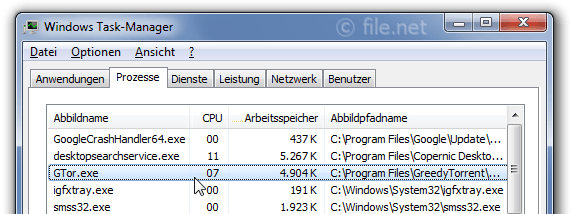 Windows Task-Manager mit GTor