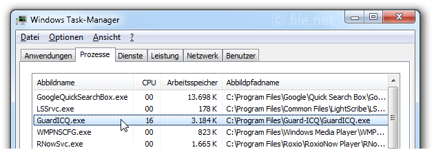 Windows Task-Manager mit GuardICQ