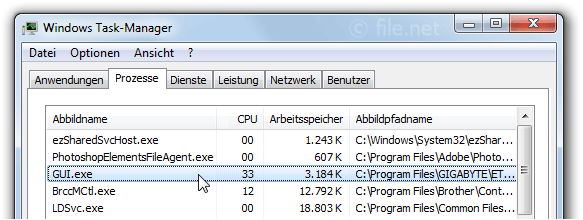 Windows Task-Manager mit Gui