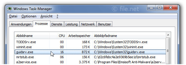 Windows Task-Manager mit guidsrv