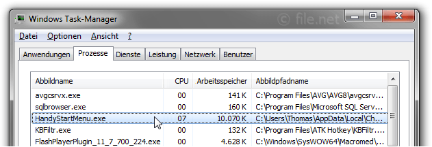 Windows Task-Manager mit HandyStartMenu