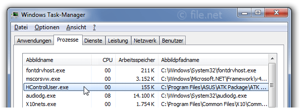 Windows Task-Manager mit HcontrolUser