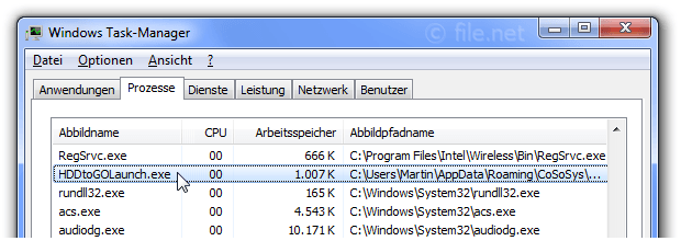 Windows Task-Manager mit HDDtoGOLaunch