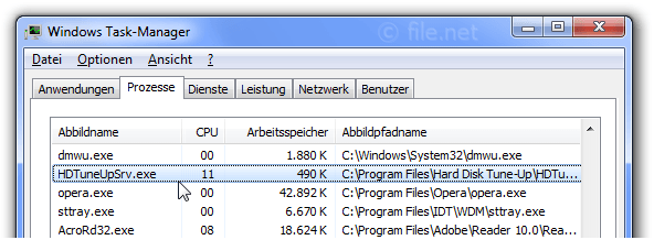 Windows Task-Manager mit HDTuneUpSrv