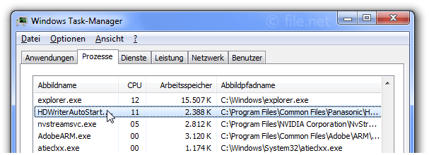 Windows Task-Manager mit HDWriterAutoStart