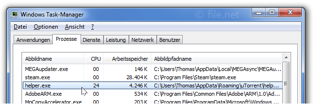 Windows Task-Manager mit Helper