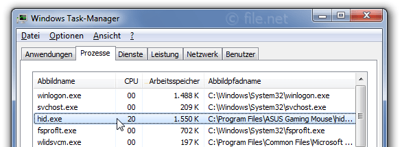 Windows Task-Manager mit hid
