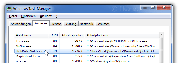 Windows Task-Manager mit HighRollerNotifier