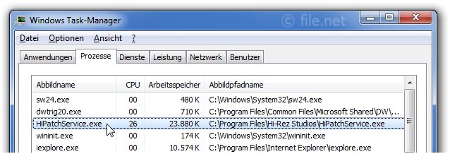 Windows Task-Manager mit HiPatchService