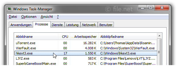 Windows Task-Manager mit HKExt3