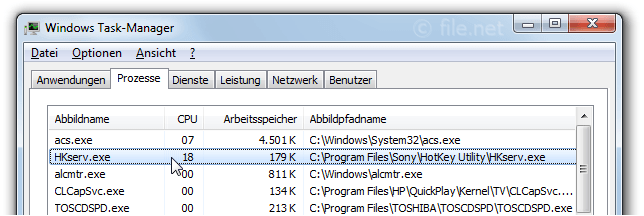 Windows Task-Manager mit HKserv