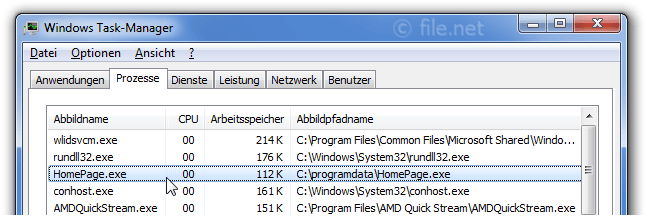 Windows Task-Manager mit HomePage
