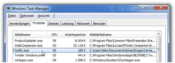 Windows Task-Manager mit hotfix