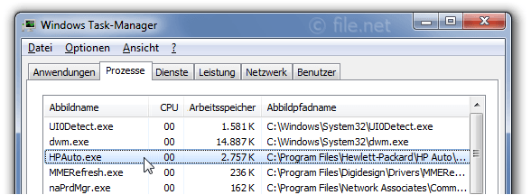 Windows Task-Manager mit HPAuto