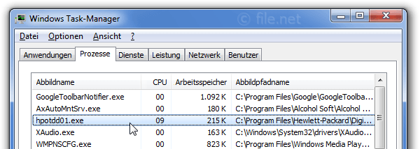 Windows Task-Manager mit hpotdd01