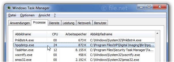 Windows Task-Manager mit hpqdstcp