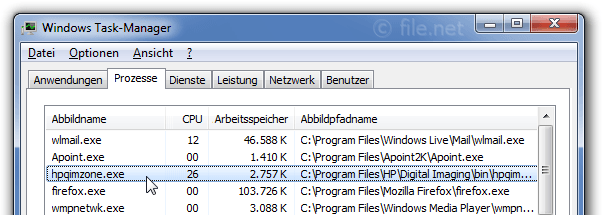 Windows Task-Manager mit hpqimzone