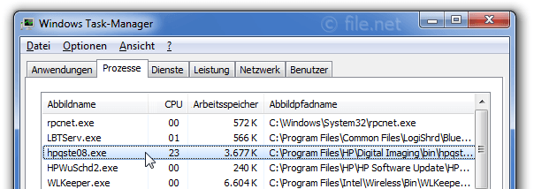 Windows Task-Manager mit hpqste08