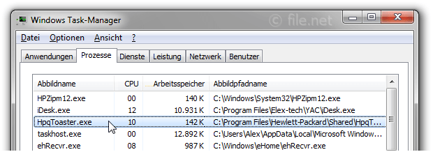 Windows Task-Manager mit HpqToaster