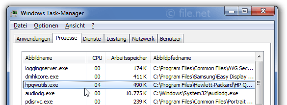 Windows Task-Manager mit hpqwutils