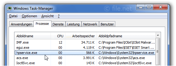 Windows Task-Manager mit hpservice