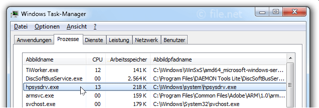 Windows Task-Manager mit hpsysdrv