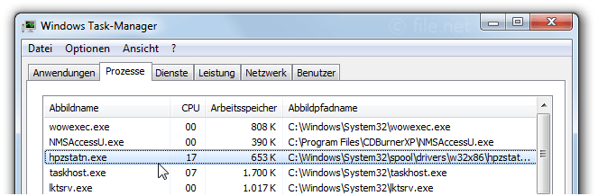 Windows Task-Manager mit hpzstatn