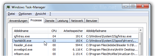 Windows Task-Manager mit hpztsb08