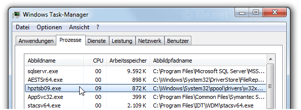 Windows Task-Manager mit hpztsb09