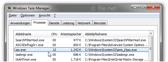 Windows Task-Manager mit iao