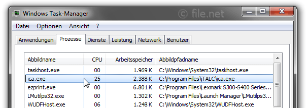 Windows Task-Manager mit ica